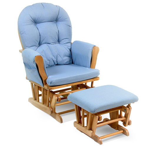 blue glider chair patio chairs at big lots storkcraft hoop natural and ottoman walmart com