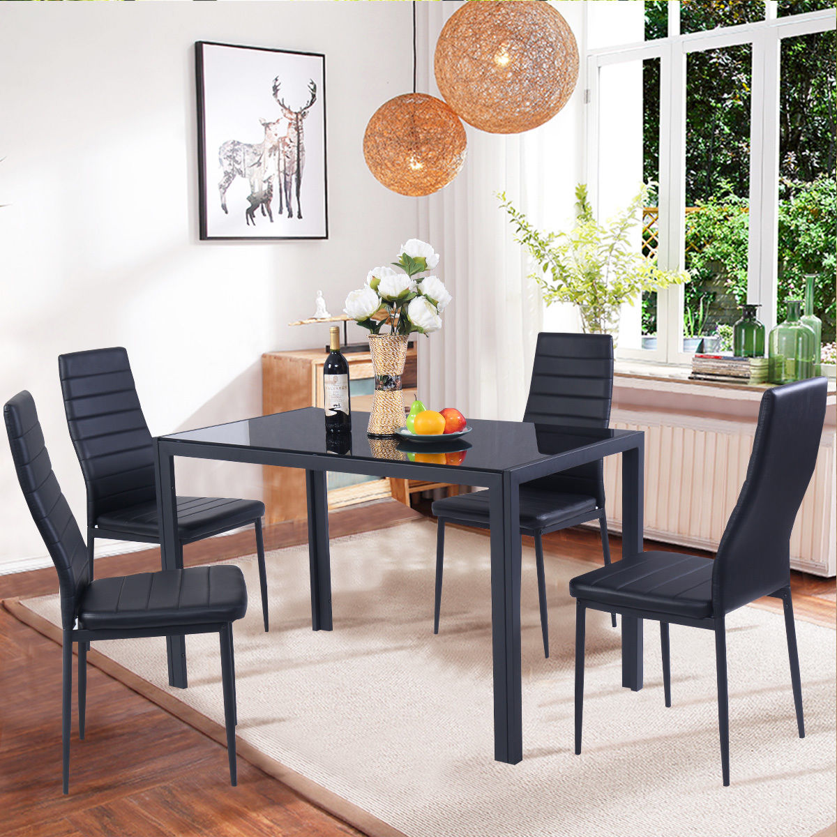 Costway 5 Piece Kitchen Dining Set Glass Metal Table and 4
