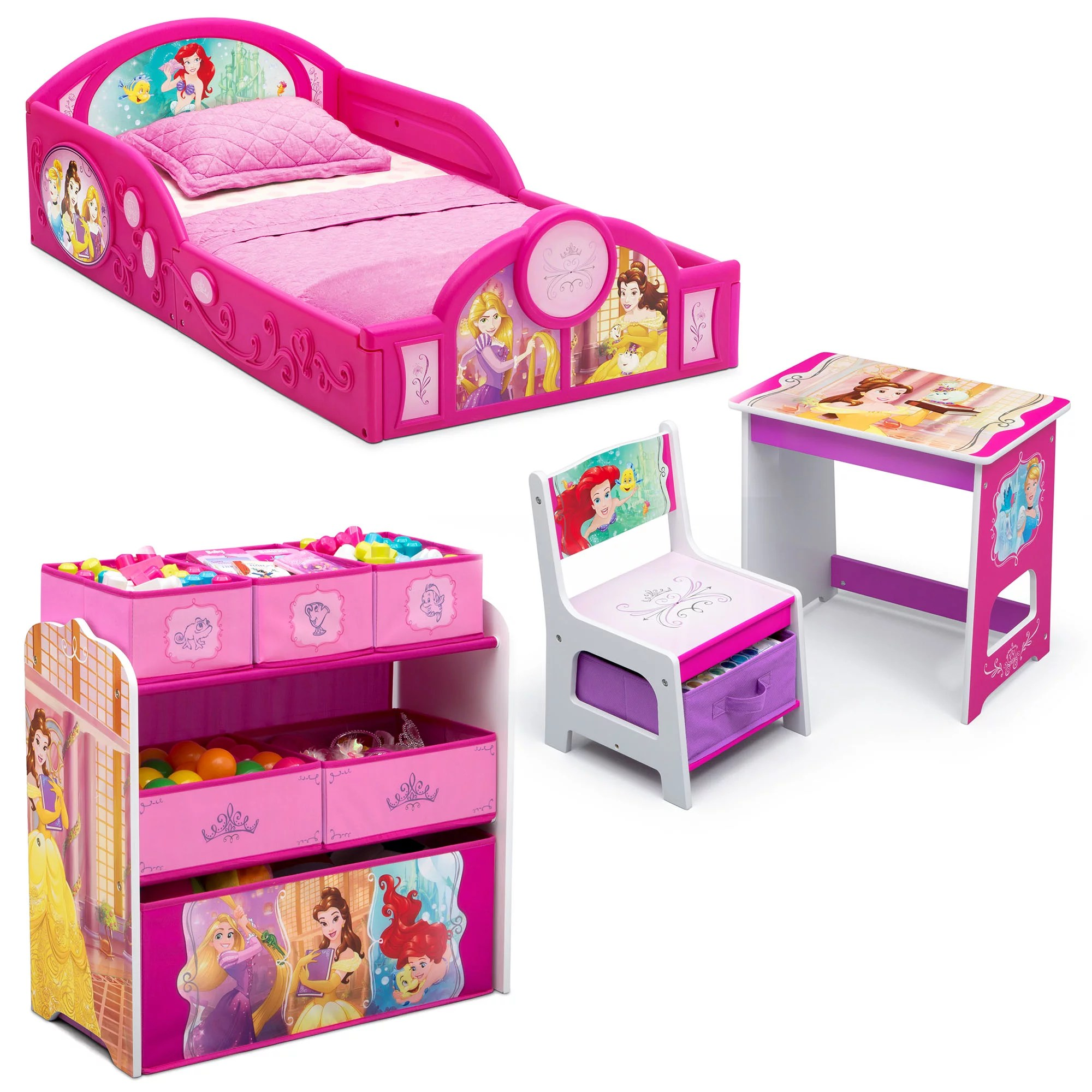 disney princess 4 piece room in a box bedroom set by delta children includes sleep play toddler bed 6 bin design store toy organizer and desk