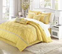 Vermont Yellow & Grey King 8 Piece Embroidered Comforter ...