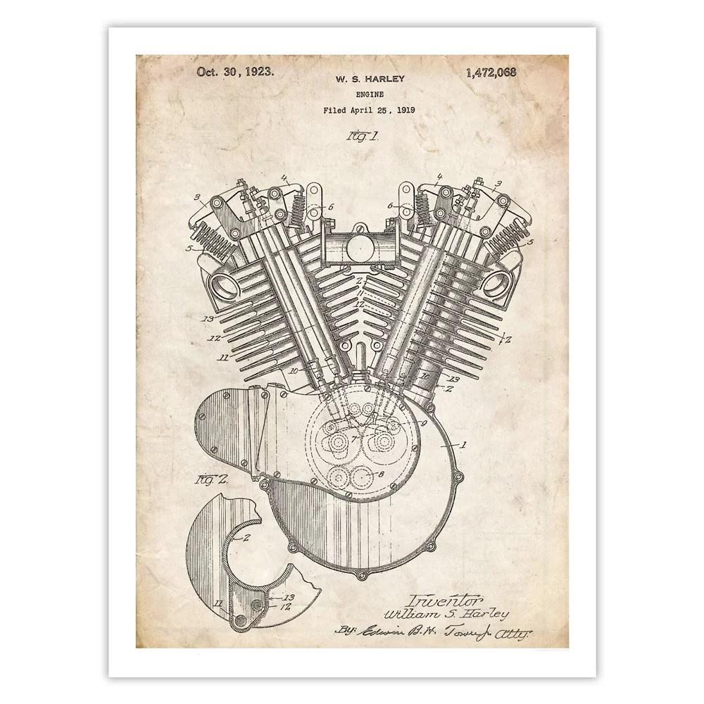 medium resolution of harley davidson motorcycle engine poster 1923 patent art handmade gicl e gallery print parchment walmart com