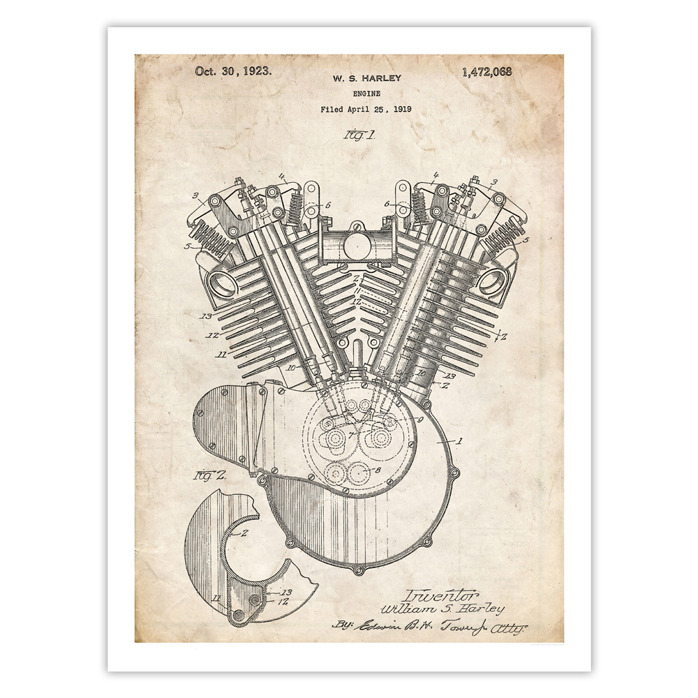 hight resolution of harley davidson motorcycle engine poster 1923 patent art handmade gicl e gallery print parchment walmart com