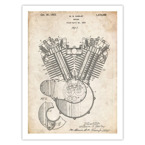 small resolution of harley davidson motorcycle engine poster 1923 patent art handmade gicl e gallery print parchment walmart com