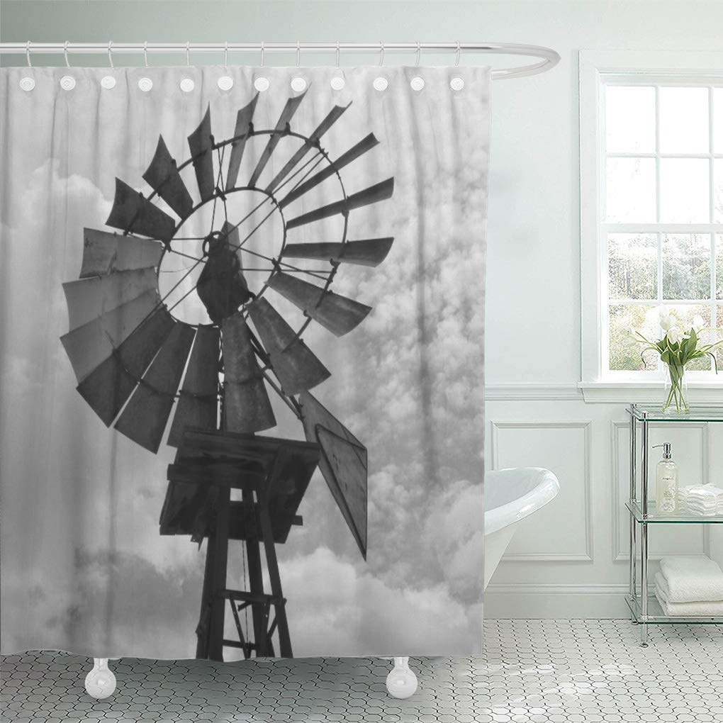 cynlon west old windmill black and wind mill western vintage bathroom decor bath shower curtain 60x72 inch