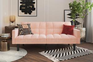 DHP, Harper Convertible Sofa Sleeper Futon with Arms, Pink ...