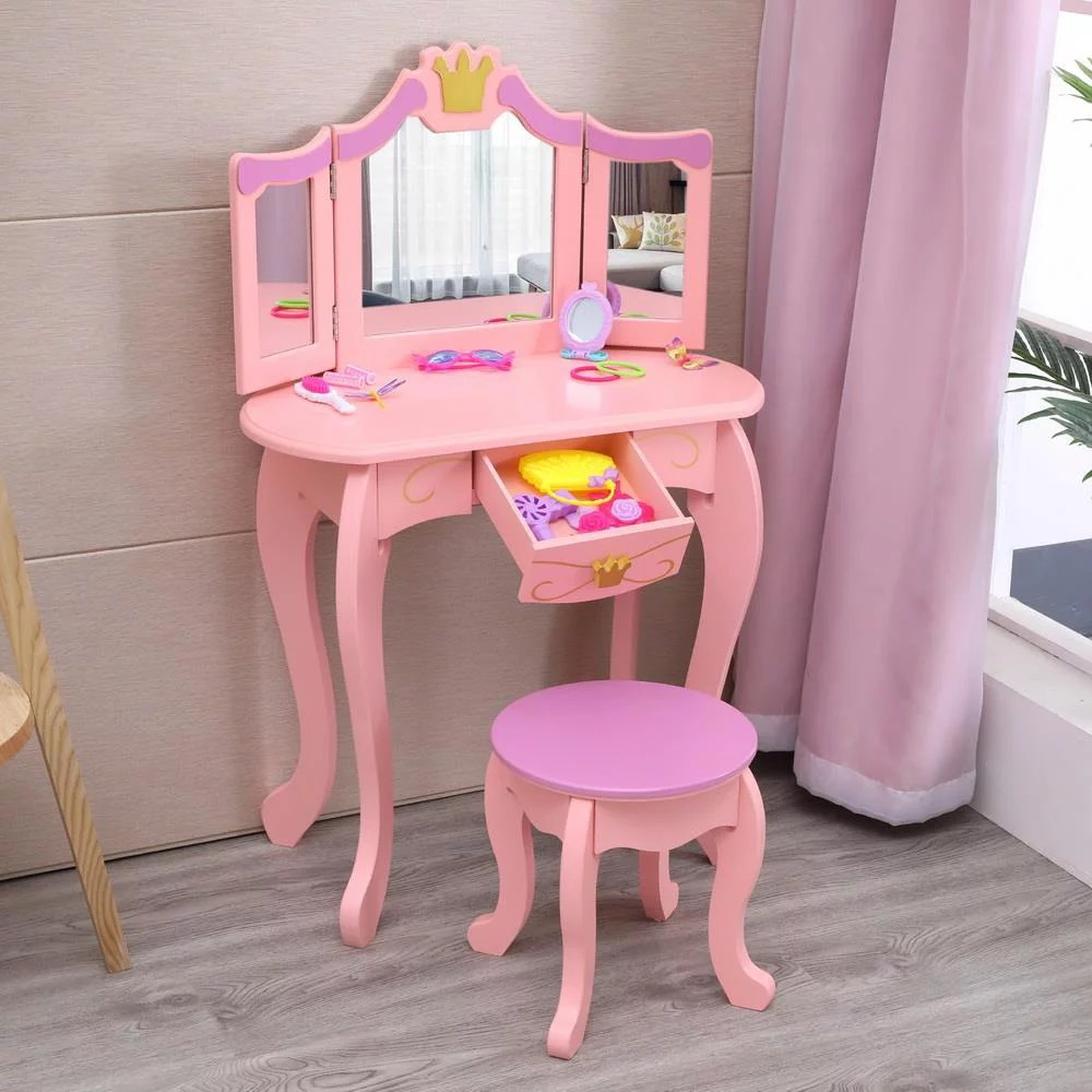 ubesgoo kids wooden vanity table stool set princess makeup dressing table with folding mirror pink