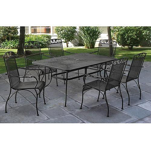 wrought iron patio furniture dining sets Mainstays Jefferson Wrought Iron 7-Piece Patio Dining Set, Seats 6 - Walmart.com