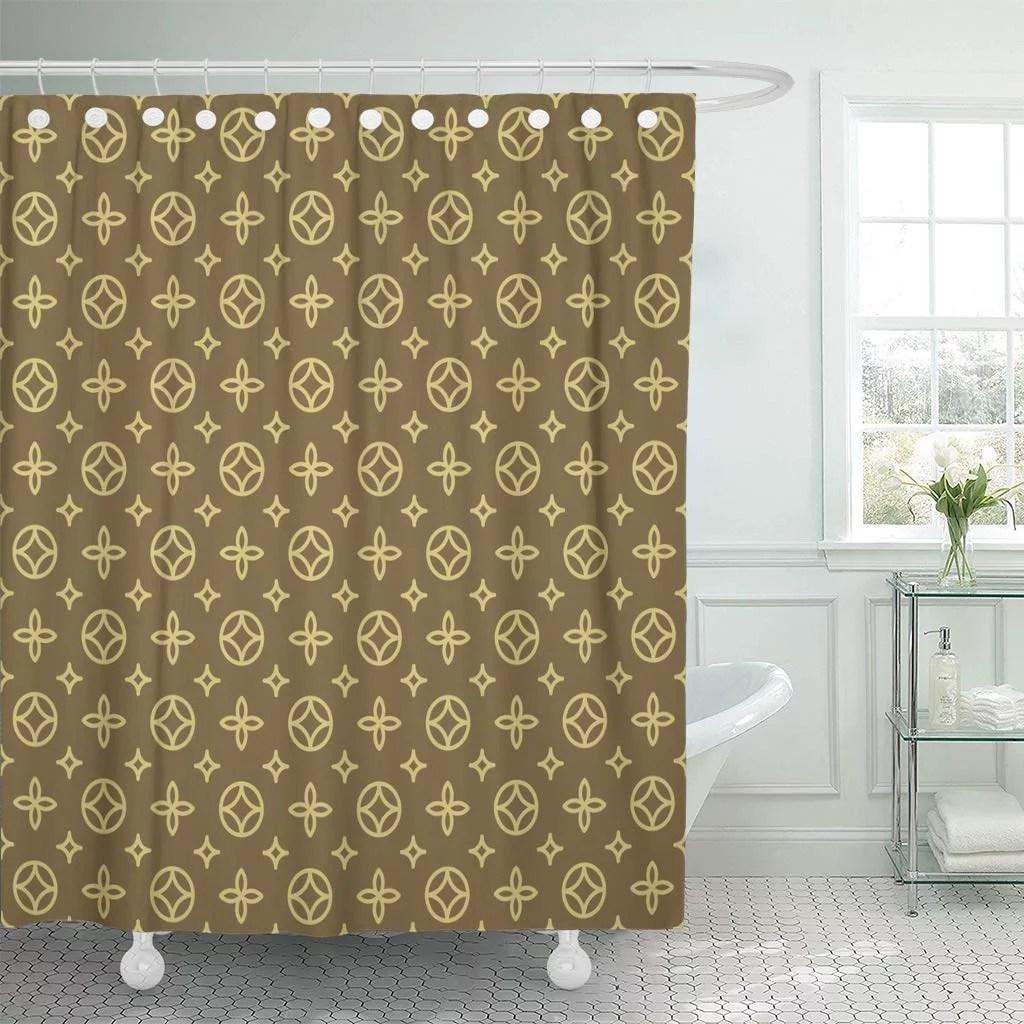 ksadk louis luxury geometric floral pattern in vintage vuitton pram blossom canvas shower curtain bathroom curtain 66x72 inch