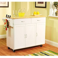 Large Kitchen Cart Cost Of Renovation Extra White With Wood Top