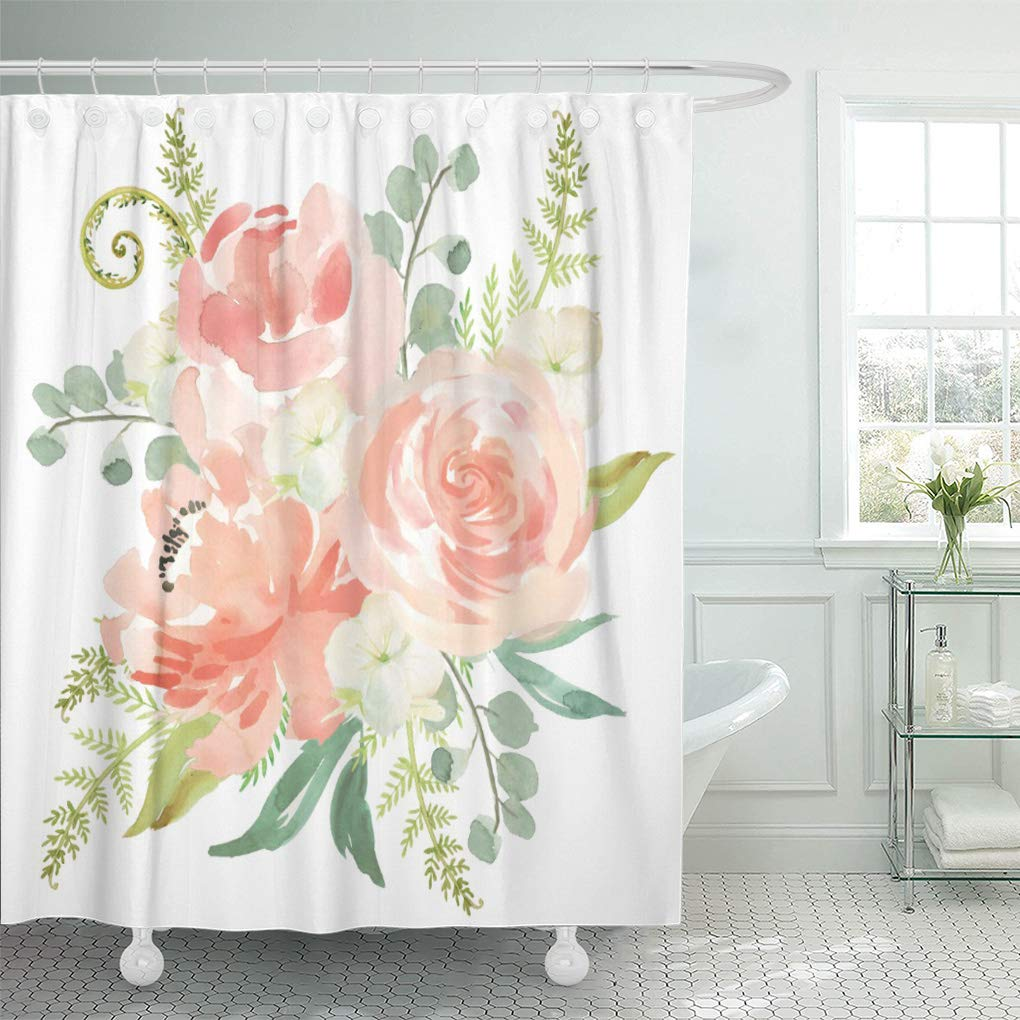cynlon pink peonies peaches and watercolor floral peach fern botanical bathroom decor bath shower curtain 66x72 inch
