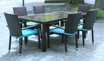 7-piece Black Resin Wicker Outdoor Furniture Patio Dining