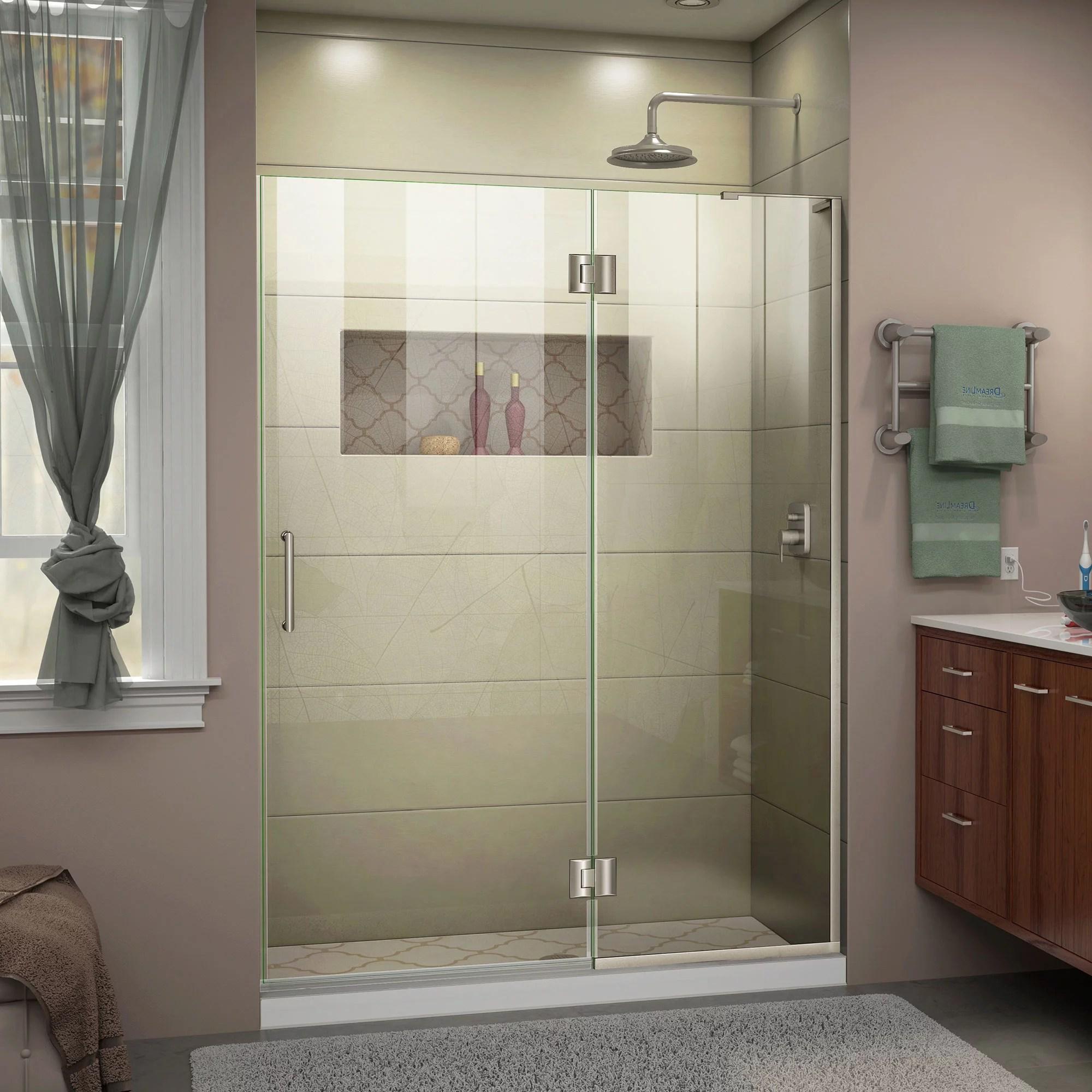 Dreamline Unidoor X 48 In W X 72 In H Frameless Hinged Shower Door In Brushed Nickel