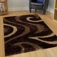 Allstar Brown Shaggy Area Rug with 3D Brown Circle Design ...