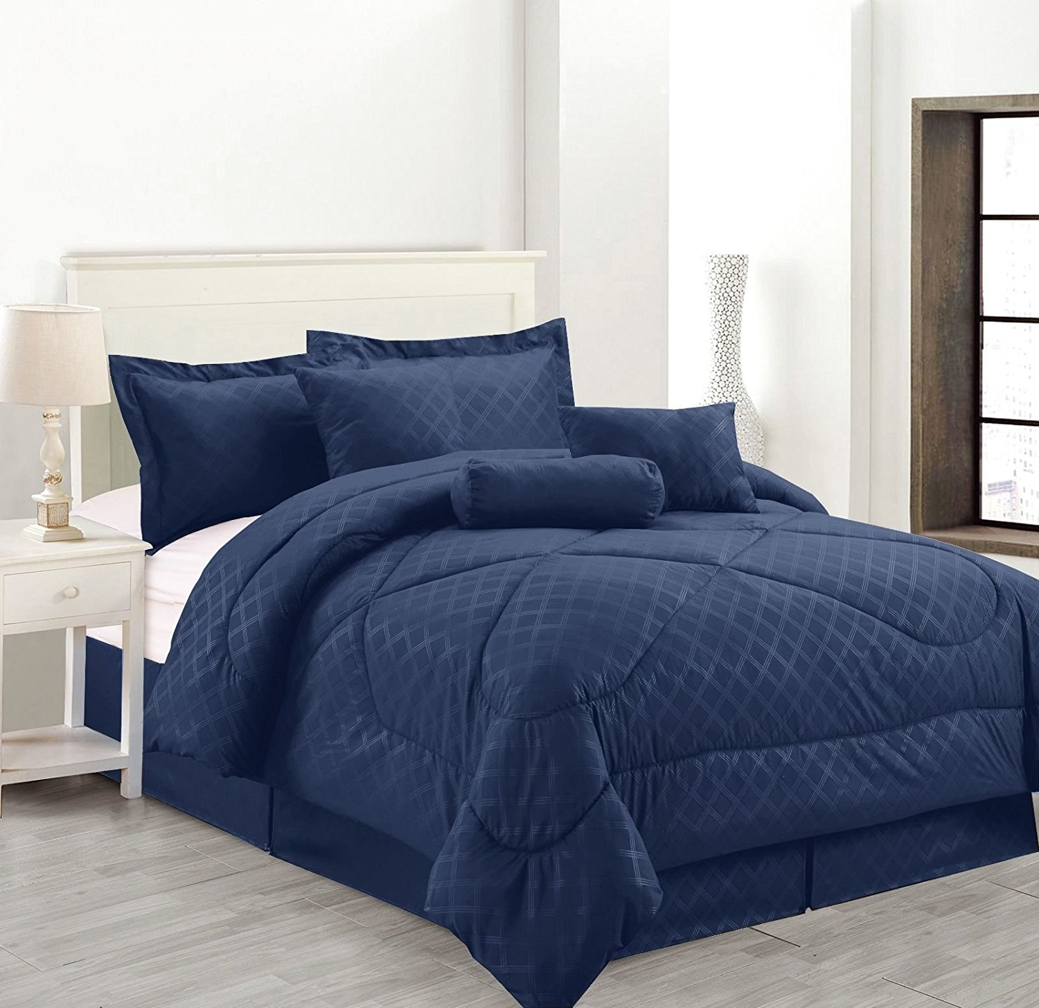 luxury hotel full size 8 piece embossed solid over sized comforter set bed in a bag navy blue walmart com