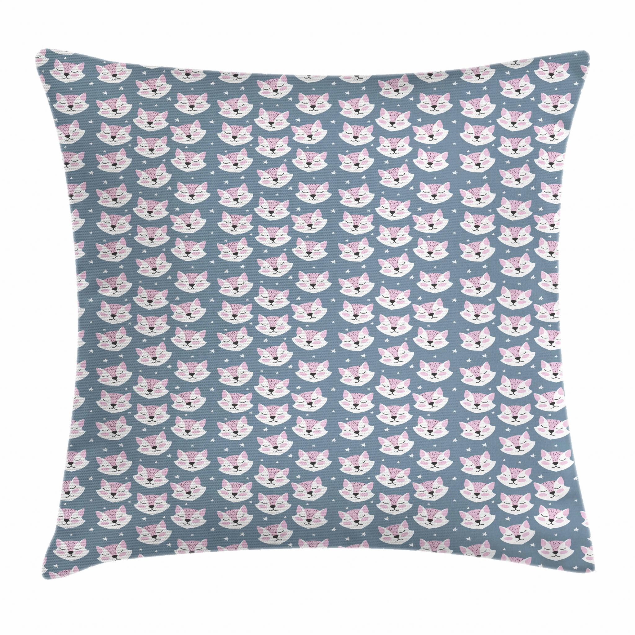 Kids Throw Pillow Cushion Cover Sleeping Fox Faces with
