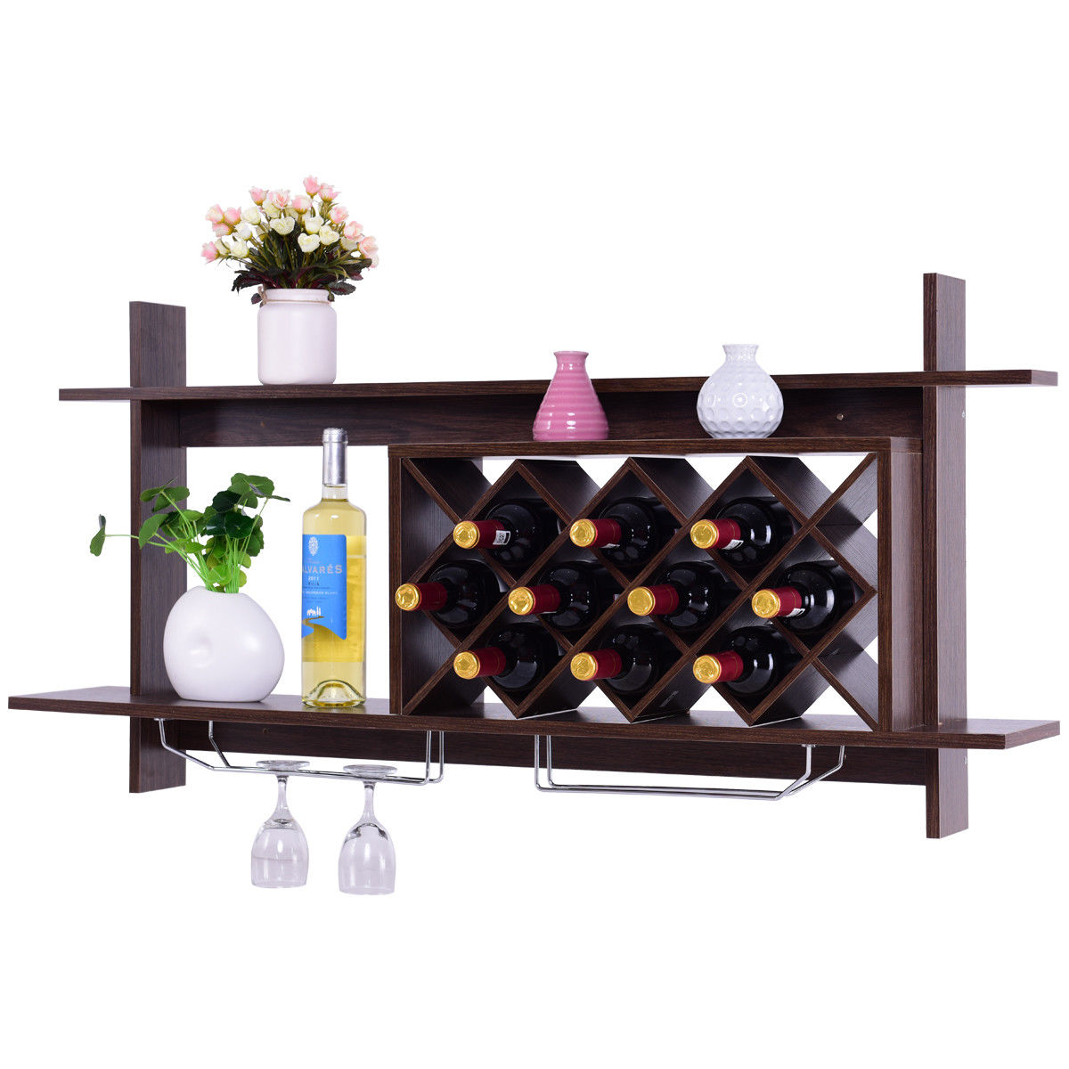 Gymax Wall Mount Wine Rack Organizer With Glass Holder