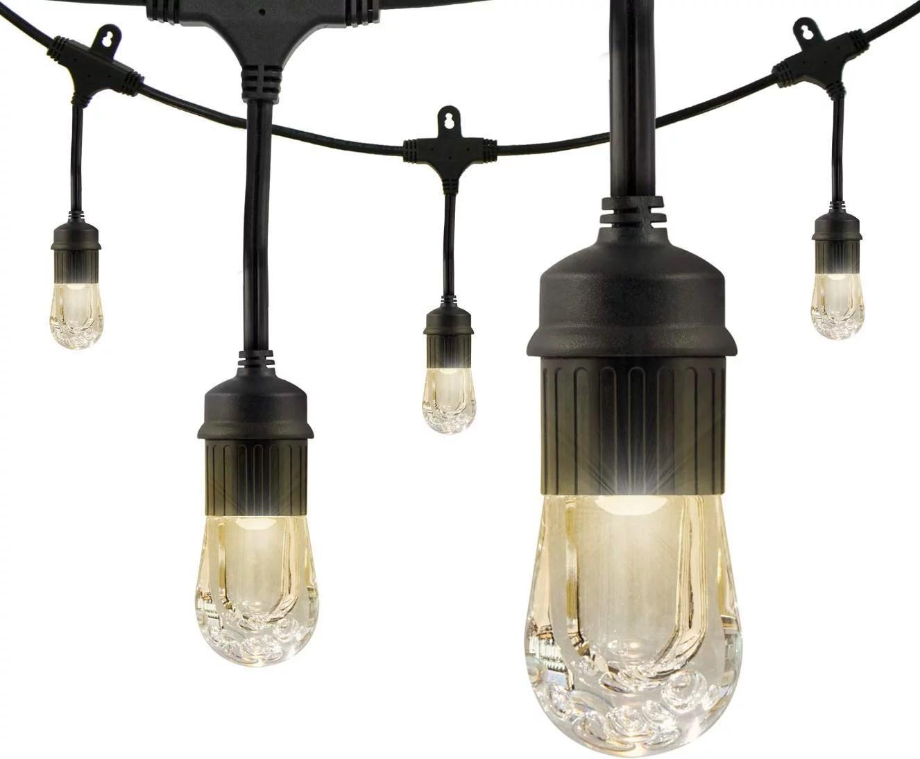 enbrighten classic led cafe string lights 24ft 12 acrylic bulbs indoor outdoor weatherproof shatterproof black cord 31662
