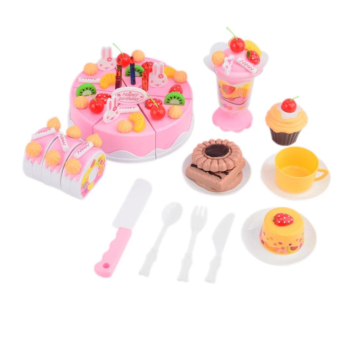Set Of 75pcs Plastic Kitchen Cutting Toy Birthday Cake
