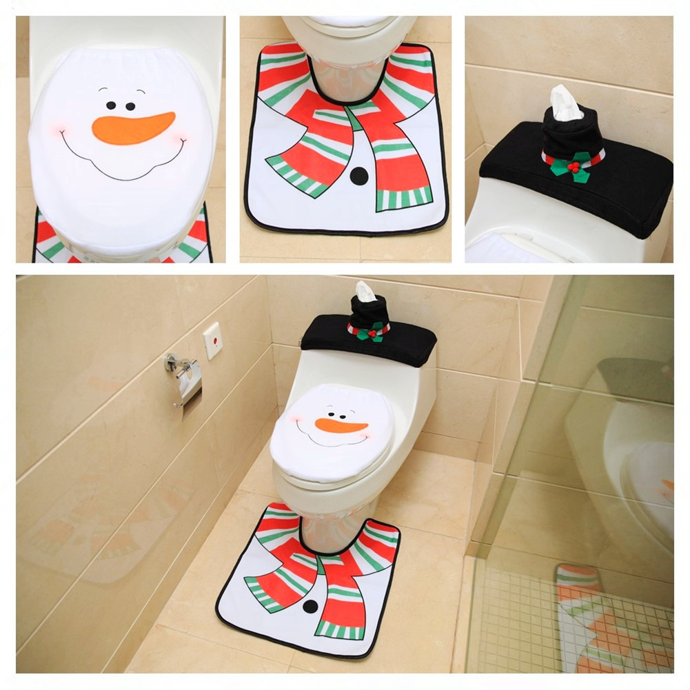 Snowman Bathroom Sets Snowman Toilet Seat Cover And Rug Bathroom Set Christmas Dec