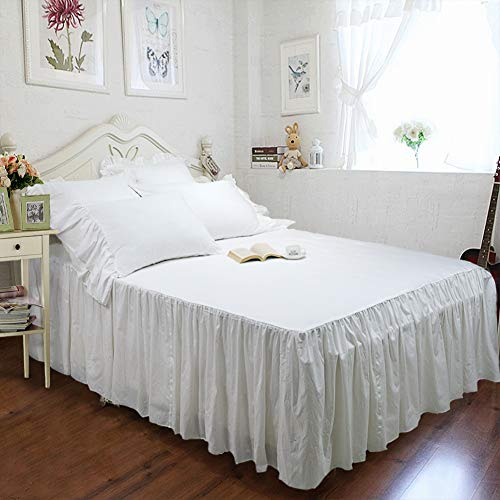 tealp farmhouse bedding set white bed skirt cotton fitted sheet bedspread and 2 shams king size shabby style bedding