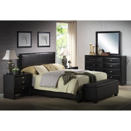 Ireland King Faux Leather Bed Black