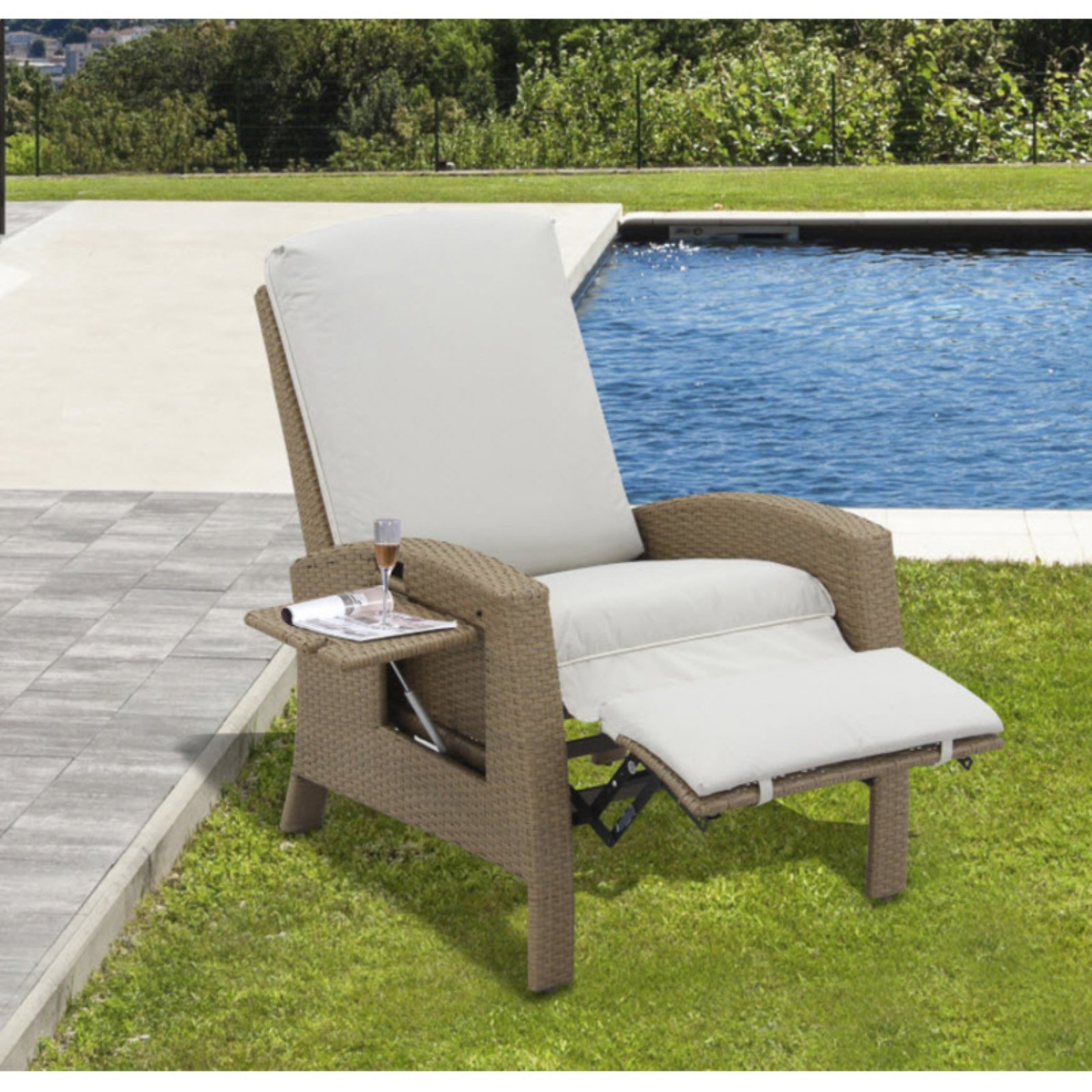 wicker recliner chair geometric fabric outsunny rattan outdoor adjustable lounge walmart com