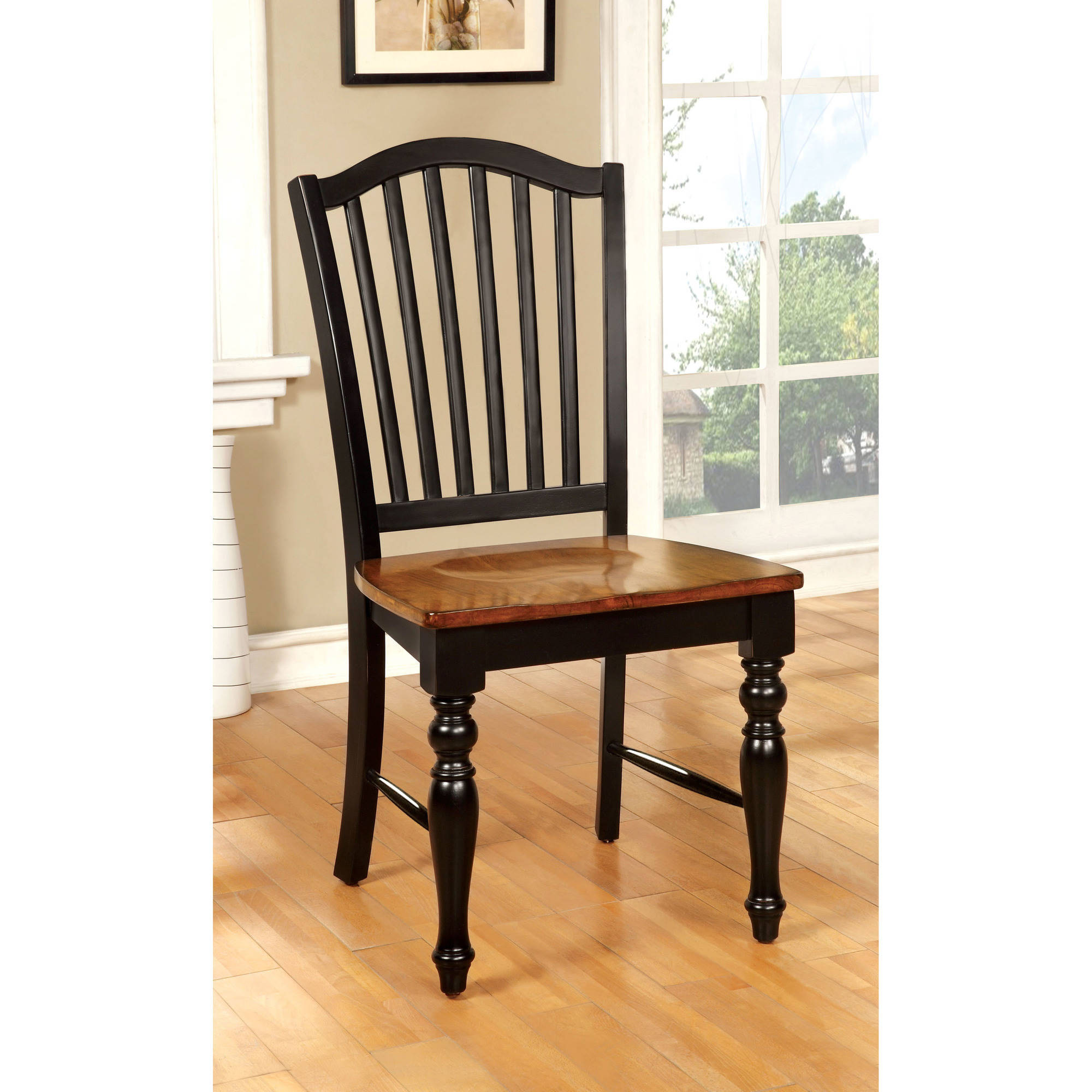 antique oak dining chairs classical guitar chair furniture of america nancy country two tone black 2pk walmart com