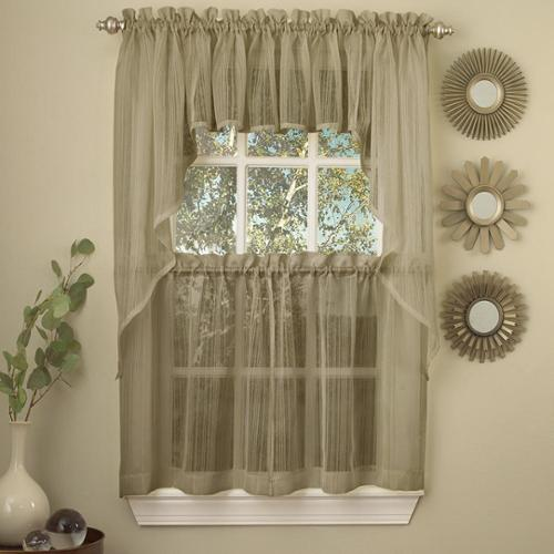 Mocha Micro Striped Semi Sheer Window Curtain Pieces Valance