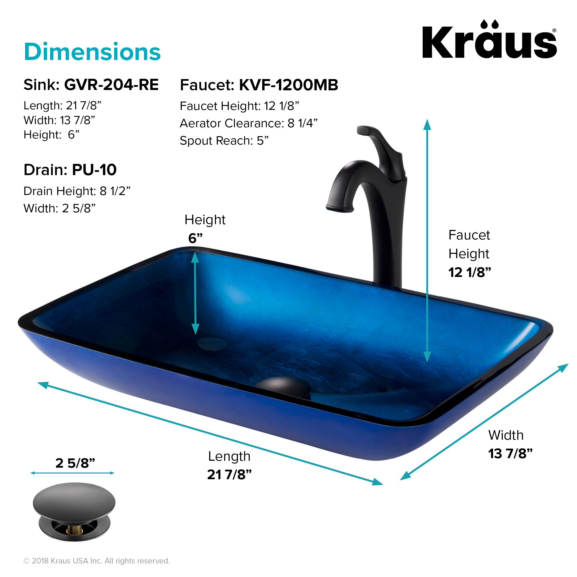 kraus 22 inch rectangular blue glass bathroom vessel sink and matte black arlo faucet combo set with pop up drain