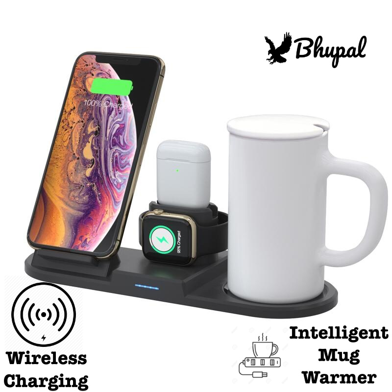 BHUPAL 4 in 1 Wireless Charging iPhone/Apple Watch/AirPods Stand with Intelligent Temperature Coffee Mug Warmer Compatible with iPhone 11 Xs Max Xr 8 Plus AirPods Pro 2 1 Apple Watch Series 5 4 3 2 1