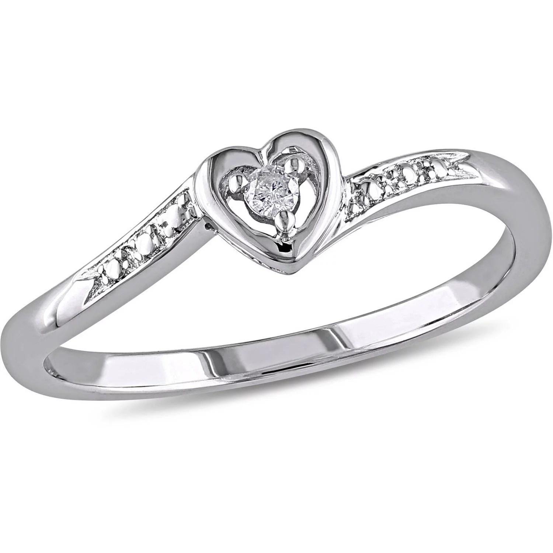 Miabella Diamond Accent Sterling Silver Heart