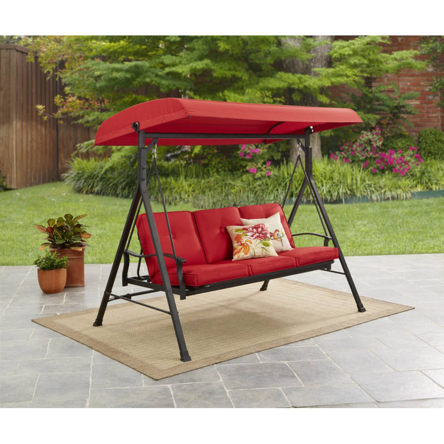 mainstays belden park outdoor 3 seat porch swing and bed with canopy beige
