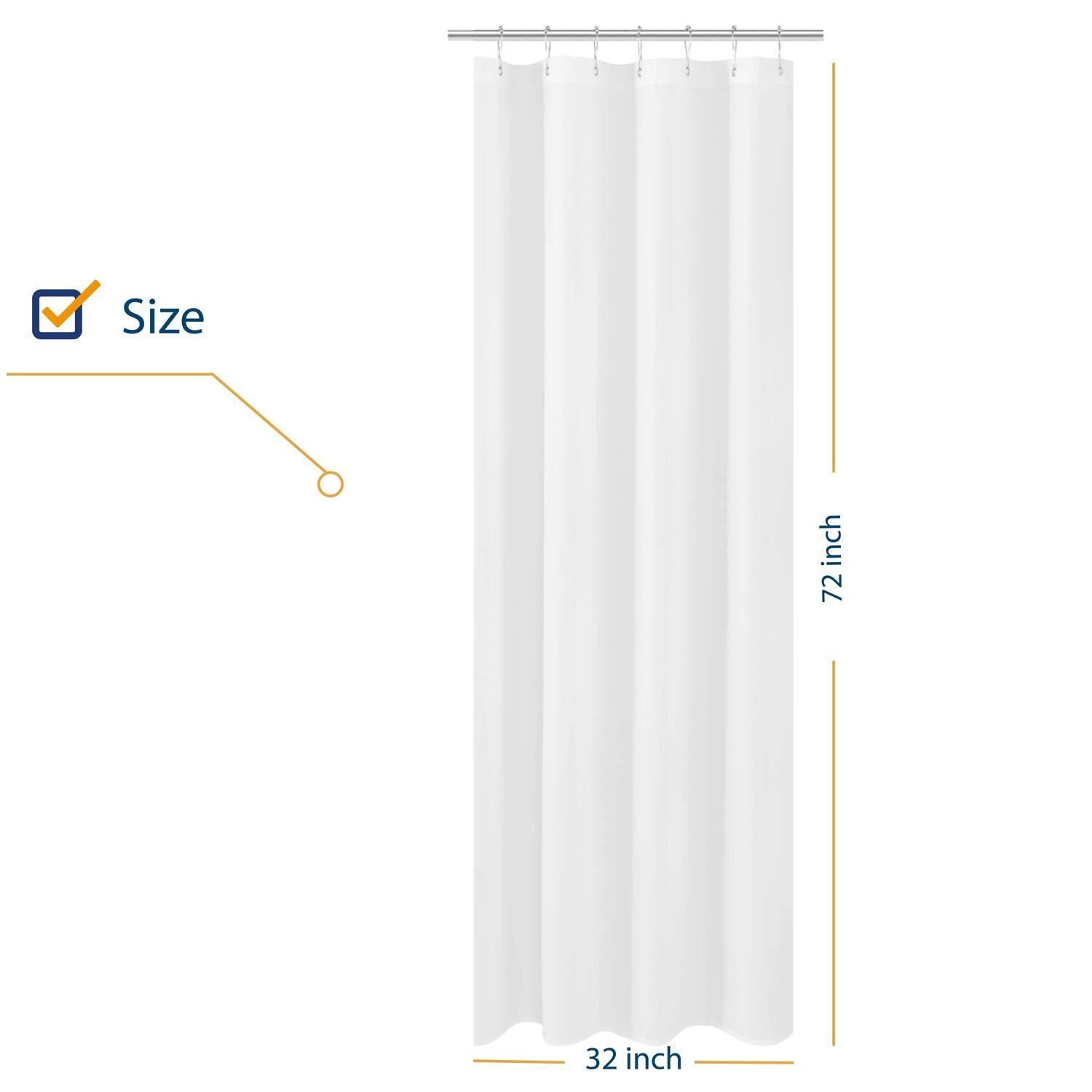 n y home small stall shower curtain liner fabric 32 x 72 inch narrow size hotel quality washable water repellent white bathroom curtains with