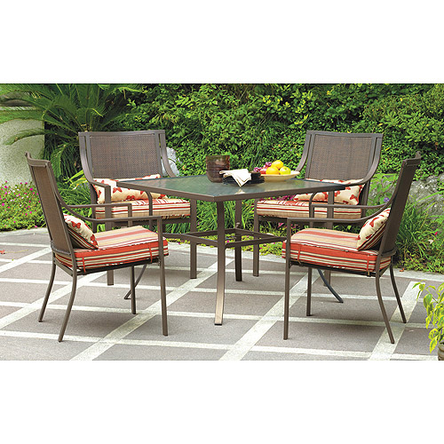 mainstays alexandra square 5 piece outdoor patio dining set red stripe with butterflies seats 4