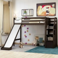 Modern Twin Size Loft Bed with Storage and Slide, Solid ...