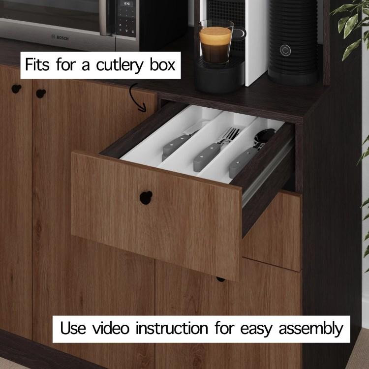 Living Skog Pantry Kitchen Storage Cabinet Large Black Brown Walmart Com Walmart Com