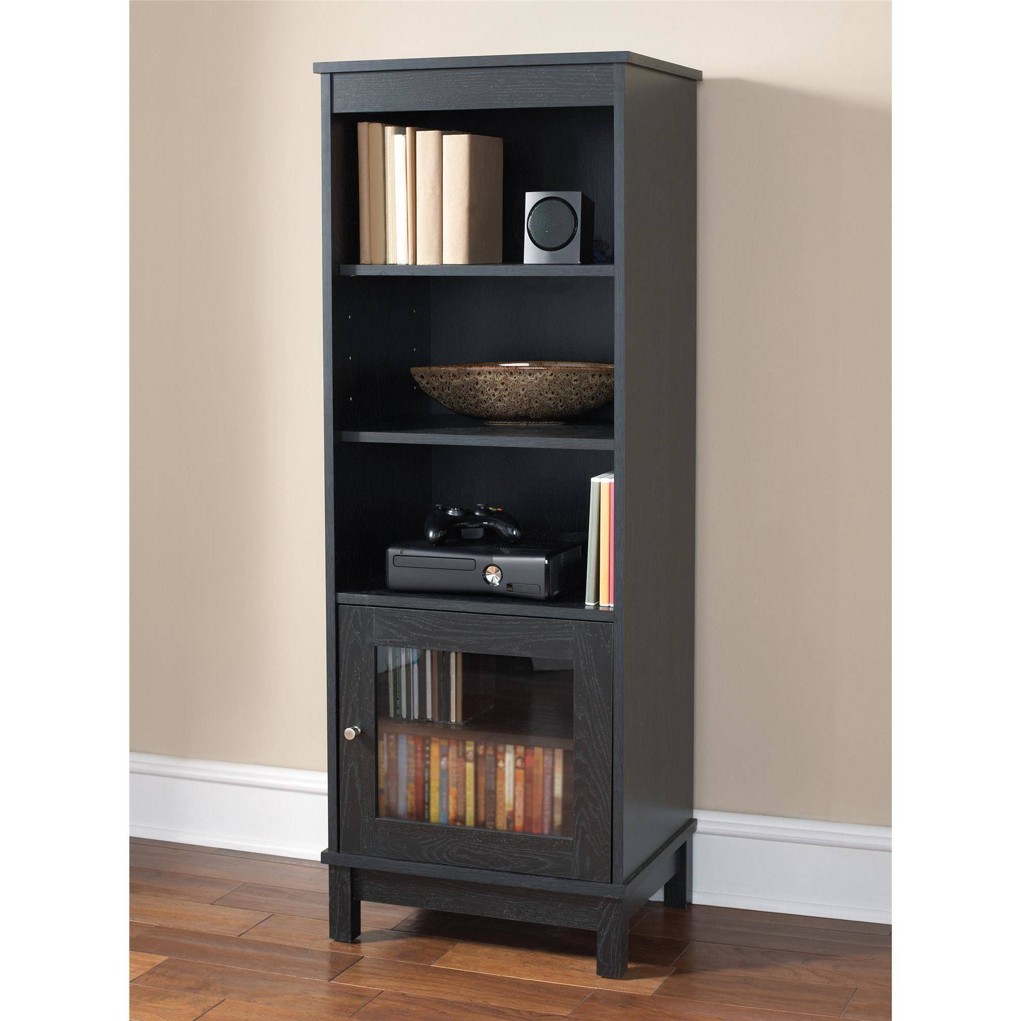 mainstays media storage bookcase