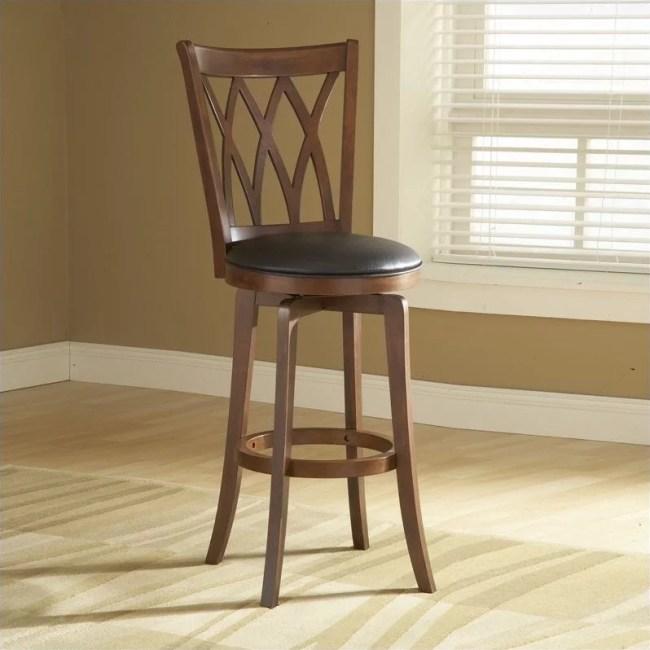 "Hillsdale Furniture Mansfield 46.75"" Swivel Bar Stool, Brown Cherry Finish with Black Vinyl"