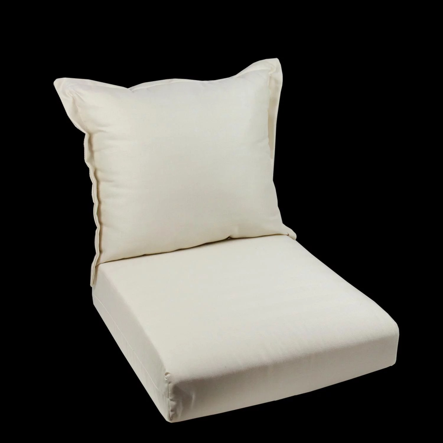pillow perfect 22 x 24 sunbrella solid outdoor patio deep seating cushion and back pillow white