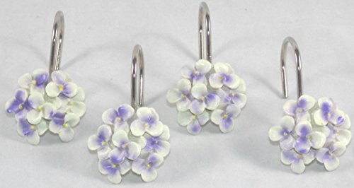 hydrangea floral flowers decorative shower curtain hooks