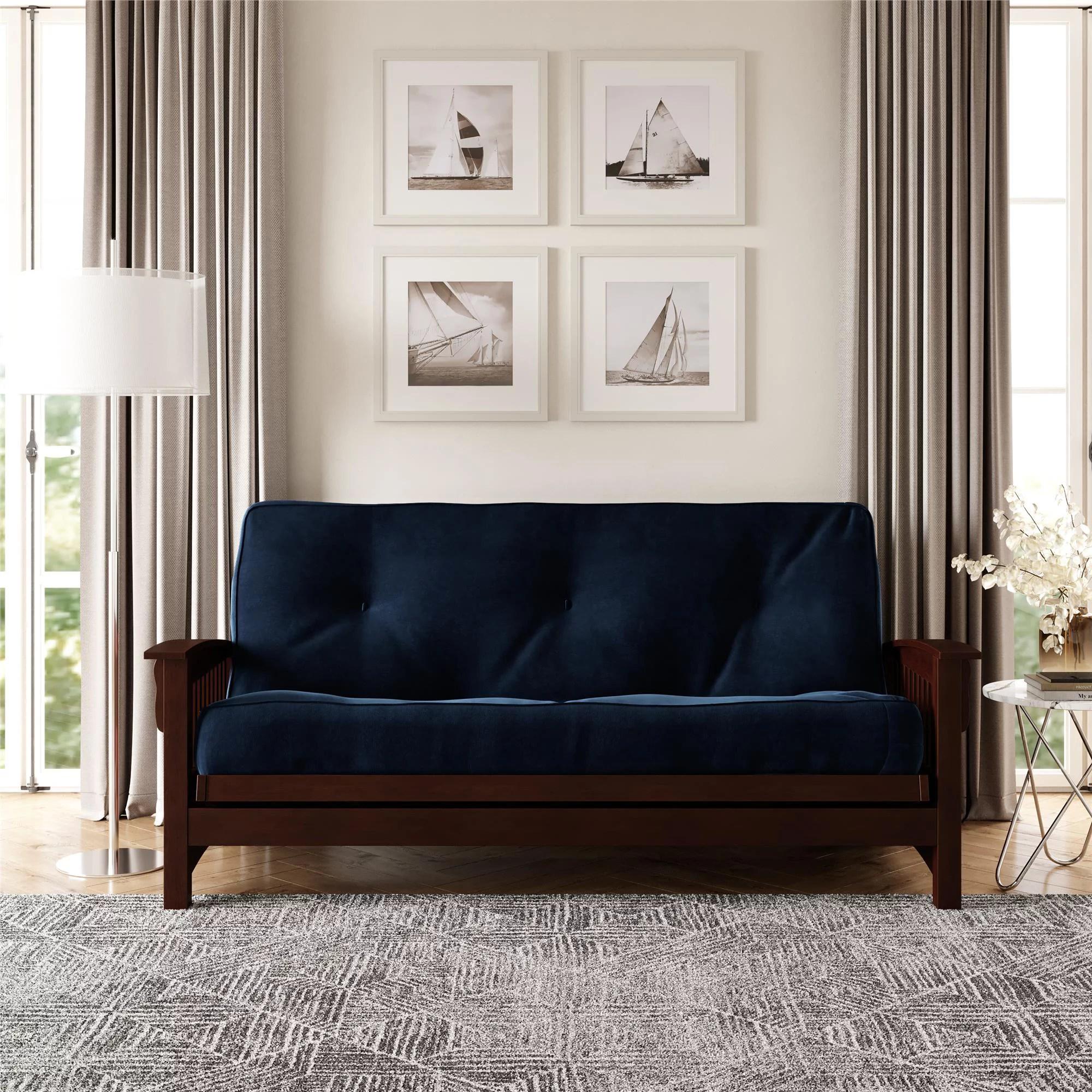 dhp 8 inch independently encased coil futon mattress blue microfiber walmart com