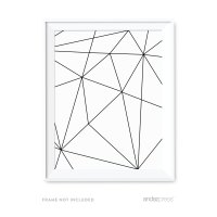 Full Page Geometric Shapes Origami Wall Art Black White ...