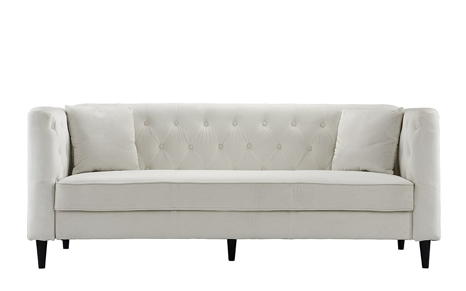 tufted button sofa michael nicholas spartan mid century velvet living room couch with buttons beige walmart com