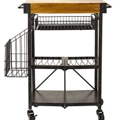Folding Kitchen Cart Outside Artesa Metal With Acacia Wood Block Basket Storage Amp Walmart Com