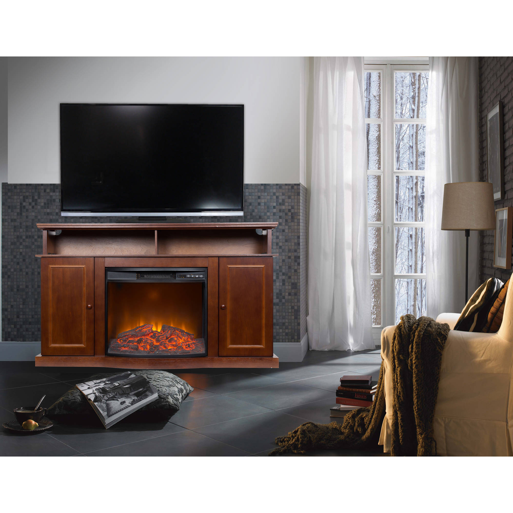 56 Inch TV Stand With Fireplace Media Console Electric Entertainment Center SALE  eBay