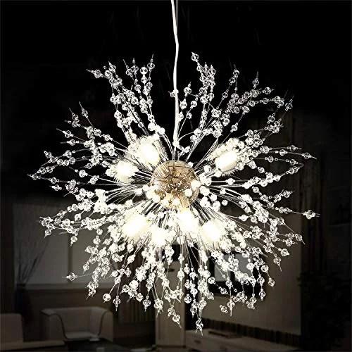 ganeed firework chandeliers led crystal modern pendant lighting with 8 lights stanless steel ceiling light fixtures pendant lamp for living room