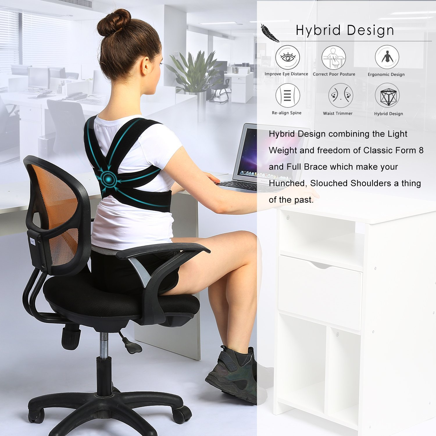 posture corrector for office chair desk za brace and clavicle support straightener with comfortable neoprene upper back shoulder forward head neck aid women men m 28 35