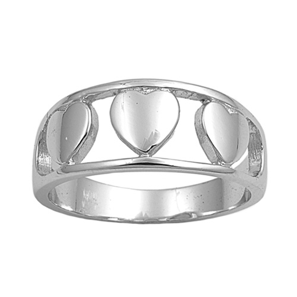 Sterling Silver Women's Plain Heart Promise Ring ( Sizes 5