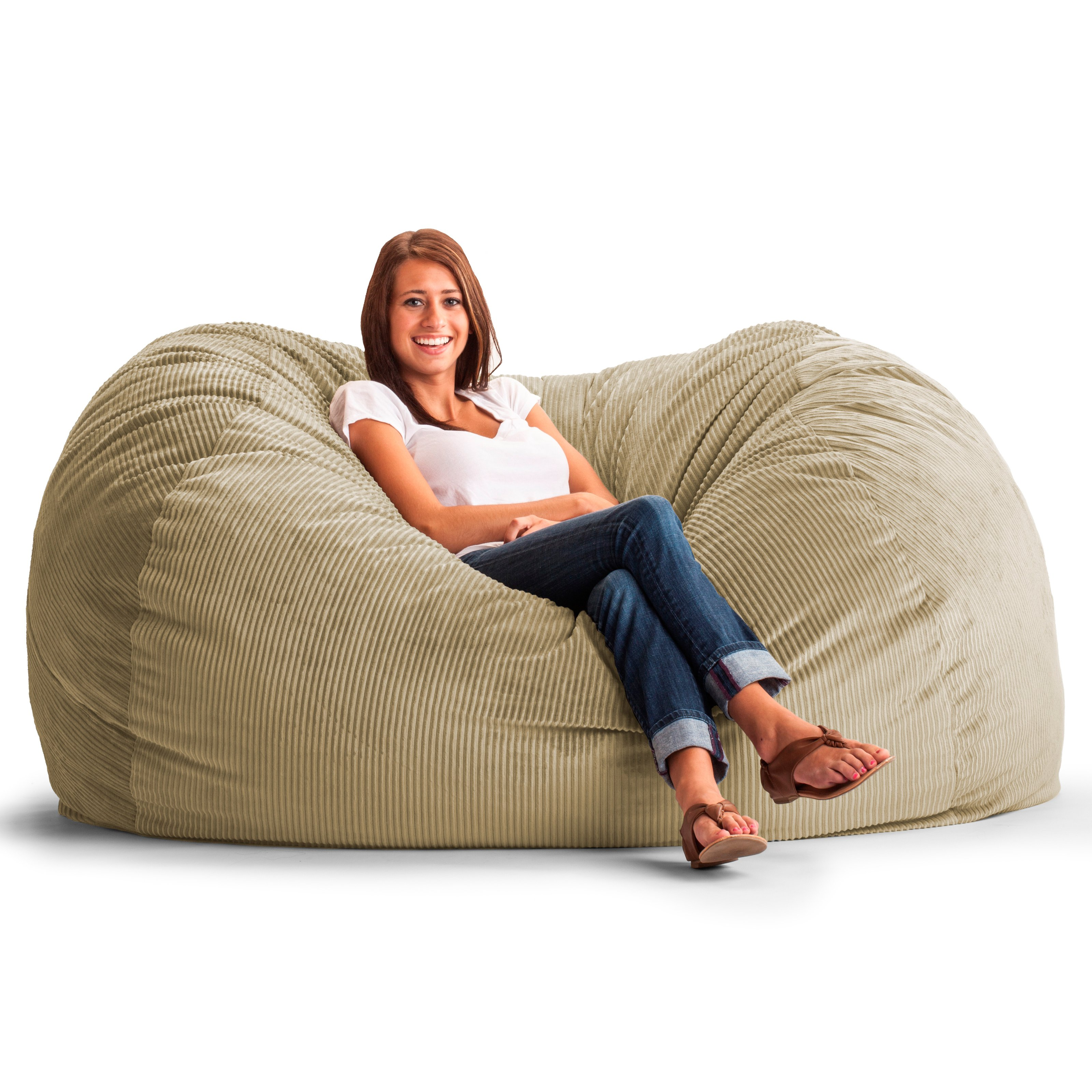 corduroy bean bag chair keekaroo high tray original fuf 6 ft xl wide wale sofa beach walmart com