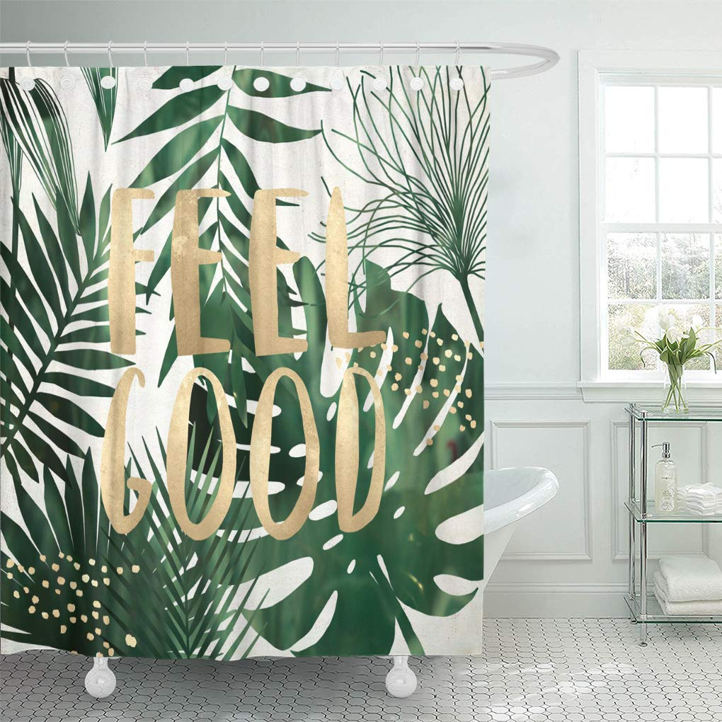 ksadk green gold feel good quote exotic wall white beach shower curtain bathroom curtain 60x72 inch